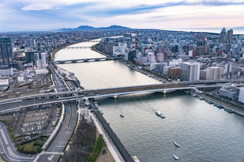 信濃川ウォーターシャトルのコース(The course of Shinanogawa Water Shttle)