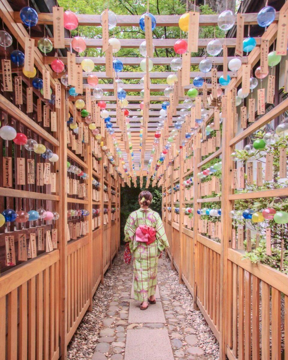 風鈴に彩られた氷川神社(Hikawa Shrine decorated with wind chimes)